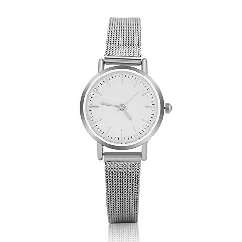 Reloj de pulsera de cuarzo analógico redondo para amantes, 2 colores, 2 tamaños, reloj de pulsera con correa de aleación, regalo perfecto para tu amante, amigos o para ti mismo(Esfera blanca S)