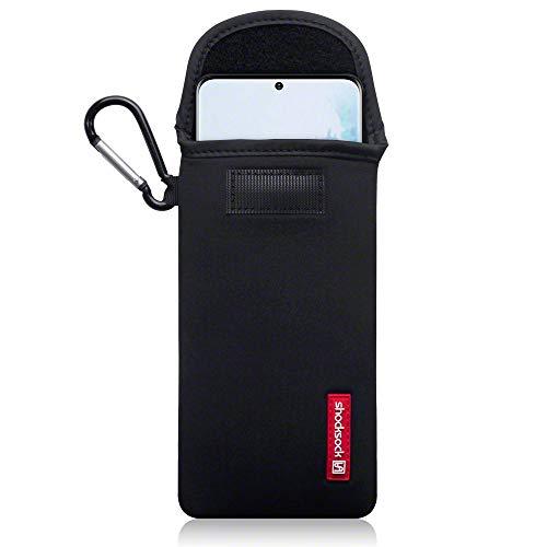 shocksock, Kompatibel mit Samsung Galaxy S20 Plus Neopren Tasche mit Carabiner Hülle Samsung Galaxy S20+ - Schwarz
