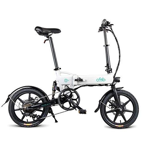 MUZILIZIYU D2S Velocidad Variable Doble ABSORTE Abajo Adulto Plegar Bicicleta ELÉCTRICO BICICLETE, Gris (Color : White )