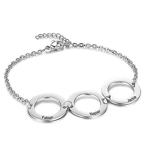 DaMei Collar Mujer Personalizado con 2-6 Nombre Collares Plata Acero inoxidable Regalo para Novia Bff Grabado Personalizadas (B-Silver)