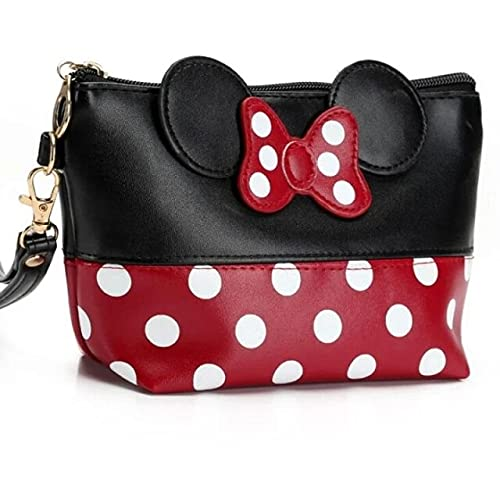 Black Red Fashion Cosmetic Bag For Women Cartoon Bow Mickey Women Makeup Bag With Zipper Handbag Storage Pouch Toiletry Wash Bags