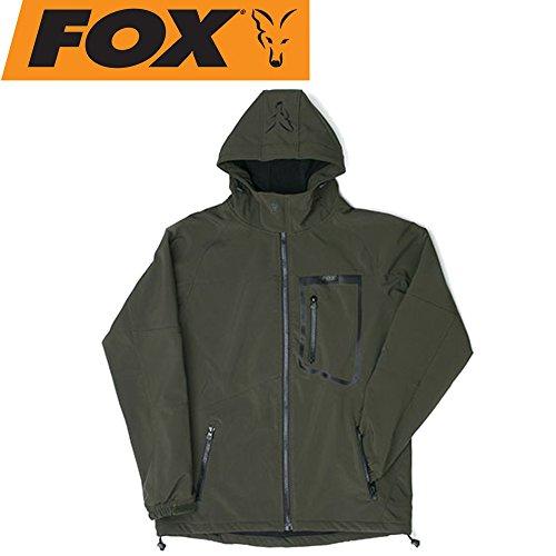 FOX Green Black Softshell Jacket - Angeljacke, Softshelljacke, Anglerjacke, Jacke zum Angeln, Regenjacke, Größe:L