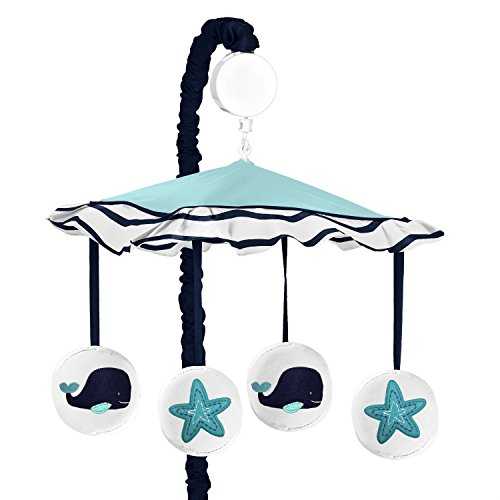 Sweet Jojo Designs Blue Whale Collection Girls Boys Musical Baby Crib Mobile