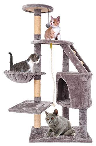 ZRM Muebles de alojamiento de la Torre del Gato de árbol de Gato de múltiples Pisos de 54 Pulgadas, rasguño de sisal Post Kitten Pet Juguete con Apartmente