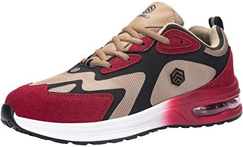 DYKHMILY Zapatillas de Seguridad Hombre Ligero, Air Cushion Zapatillas de Trabajo con Punta de Acero Calzado de Seguridad Comodo Transpirable Reflectivo(Rojo,42EU)