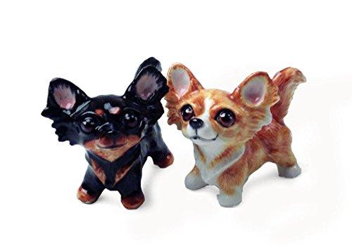 Langhaar-Chihuahua Salz-und-Pfeffer-Set handgefertigt Beige und Schwarz Mini (5cm x 8cm)