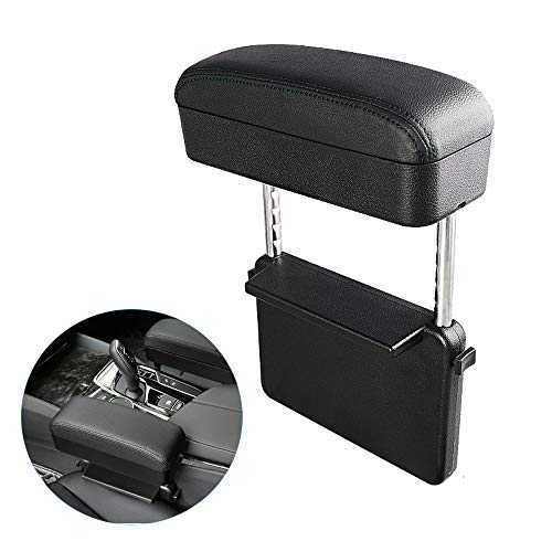 Blueshyhall Car Center Console Organizer Armrest Storage Box Holder Container, Black Leather Arm Rest Wireless Charger(Style A)