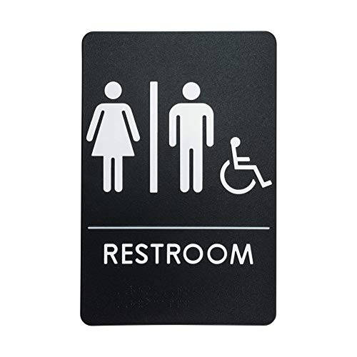 Unisex Restroom Sign for Handicap Accessible Restroom, ADA-Compliant Bathroom Door Sign for Offices, Businesses, and