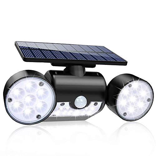 Gyfhmy Dubbele koplamp, groothoek met zonnelichtsensor, licht, 30 leds, waterdicht, 360 graden draaibaar, waterdicht, voor binnenplaats, spot patio, outdoor, veranda