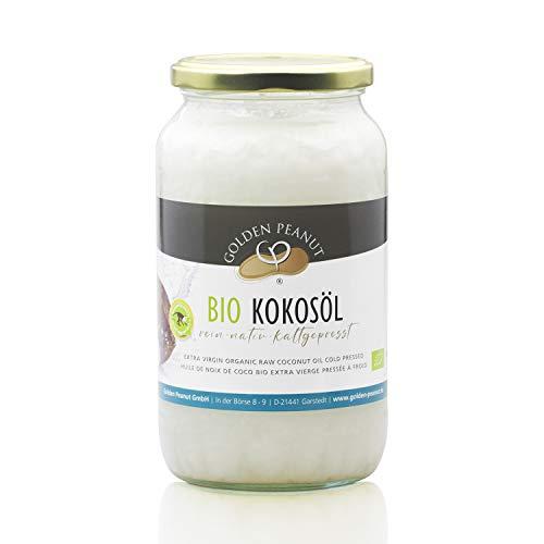 Bio Kokosöl nativ kaltgepresst, Premium Qualität aus Siri Lanka, 1. Kaltpressung, Rohkost, Vegan in 1000 ml Glas, Kokosnussöl Kokosfett