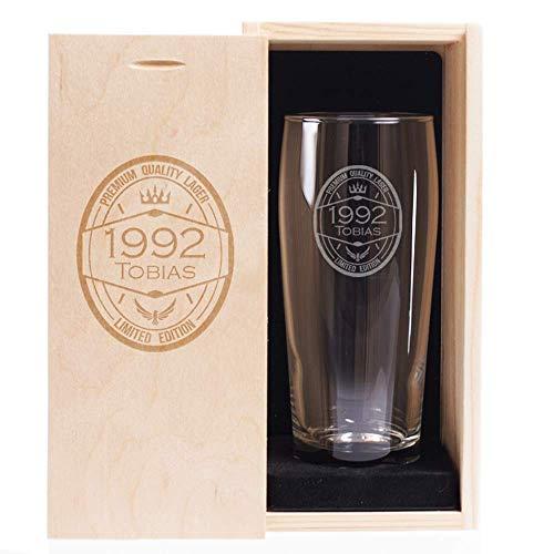 Cofanetto bicchiere birra compleanno personalizzato con anno di nascita