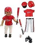 American Fashion World 5pc Red Baseball Uniform fits 18 Inch Doll