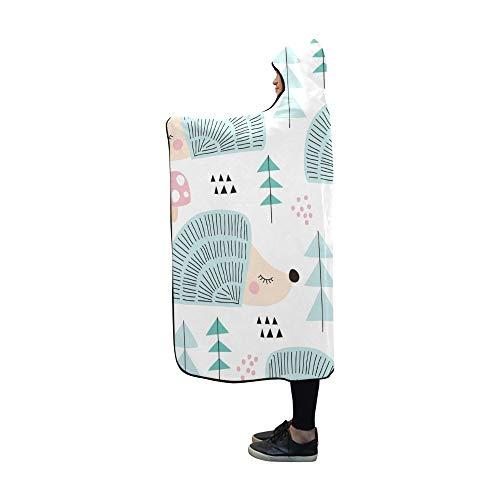 LONGYUU Couverture à Capuche Hedgehog Forest Blanket Wrap à Capuchon Comfotable