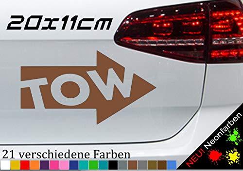 Abschlepp Aufkleber Sicker TOW Pfeil Panne Abschlepphaken Makierung 20x11cm in 21 Farben