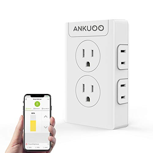 Smart Plug Outlet Switch Dimmer,4 Outlet Extender,WiFi Multi Outlet Wall Charger Compatible with Alexa,Google Home, Smart Power Strip Wireless Remote Control and Timer Via REC APP