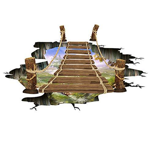 Lanceasy 3D muurschildering kleine brug Suspension natuur landschap foto achtergrond vloerbedekking behang voor badkamer decoratie