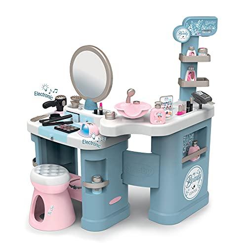 Smoby My Beauty Center - Centro de belleza, 3 zonas diferenciadas, cosmética, zona de lavado de pelo, mostrador y caja, 32 accesorios, dimensiones del producto montado: 97.5 x 51.4 x 100.2 cm (320240)