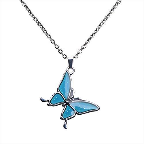 Wenyounge Collar de sensación de emoción mágica Colgante de Humor cambiante de Color de Gema de Mariposa