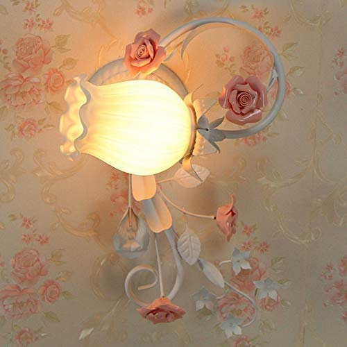 UWY Lámpara E27 Tradicional Aplique de Pared Decorativo Floral Estilo provenzal Art Deco Aplique de Pared Lámparas Apliques Lámpara de Pared de Metal clásico para Sala de Estar