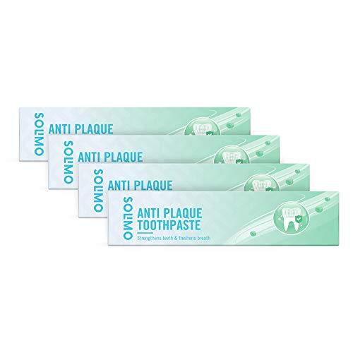 Marca Amazon - Solimo - Pasta dentífrica Cuidado Básico - Antiplaca, 4x125ml