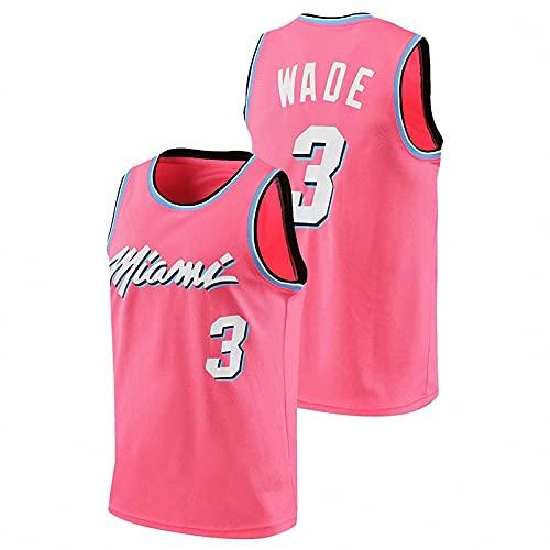 AGLT Camiseta de baloncesto de la NBA, edición de la ciudad n#3 Wade para hombre, camisetas de baloncesto para verano al aire libre, manga corta casual, rosa, S