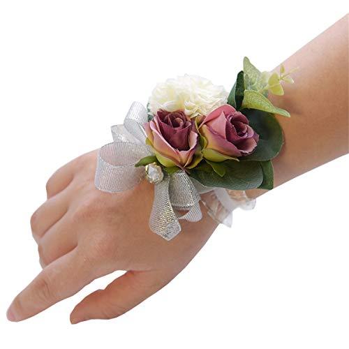 Anwedding Corsetto da Polso per Ballo di fine Anno, Bouquet da Sposa o da Polso, Decorazione Floreale, Dark Purple, 1 Pezzo