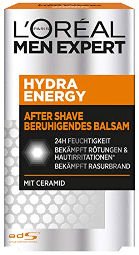 L'Oreal Paris Men Expert Hydra Energetic Aftershave Balsem | Verrijkt met ceramiden | Inhoud: 100 ml