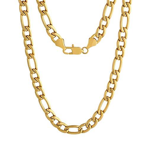 KRKC&CO 7mm Figarokette Herren, 18K Gold beschichtet Figaro Chain, Edelstahl Figarokette Herren Goldketten Silberkette Hip Hop Chain Rapper Kette, Weihnachten Geschenk für Männer Junge Länge 46-61cm