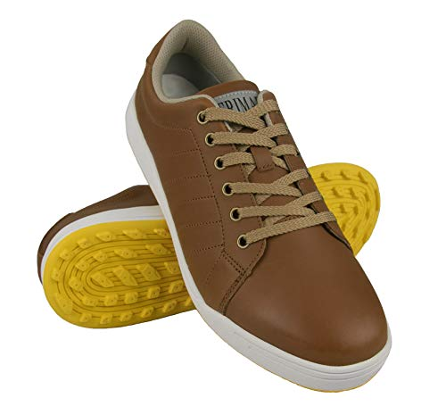Zerimar Zapatos de Golf Hombre | Zapatos Hombre Deportivos | Zapatos Hombre Golf | Zapatillas Deporte Hombres | Zapatillas de Golf Hombre | Zapato Golf Piel | Color Tan Talla 40