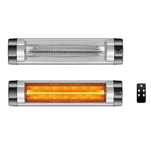 Arebos Infrarot Heizstrahler 2500 W | mit Fernbedienung | Low-Glare-Technologie | 3 Heizstufen