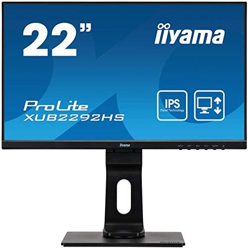 iiyama ProLite XUB2292HS-B1 54,6cm (22 Zoll) IPS LED-Monitor Full-HD (VGA, HDM, DisplayPort) Ultra-Slim-Line, Höhenverstellung, Pivot, schwarz