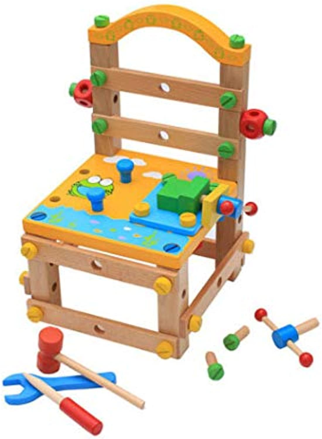 YXXHM Toys Multifunctional Tool Chair Educational Toys Woody Removable Interesting Building Blocks Assembly 26  25  38Cm