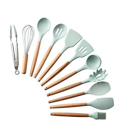 Utensilios De Cocina,Accesorios de cocina para cocinar 9/11 Uds., Juego de herramientas de cocina, juego de utensilios de cocina, cuchara antiadherente de silicona, utensilios de cocina-Verde claro-1