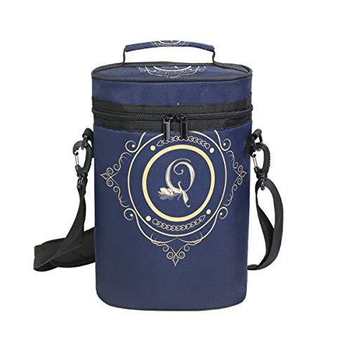 FANTAZIO Monogram Q Isolierte Wein-Tragetasche für 2 Flaschen Reise gepolstert Weintasche Kühltasche mit Griff und verstellbarem Schultergurt