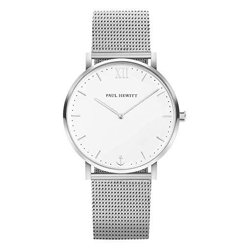PAUL HEWITT Armbanduhr Edelstahl Sailor Line White Sand (Damen und Herren) - Uhr mit Edelstahlarmband (Silber), Silberne Armbanduhr, weißes Ziffernblatt