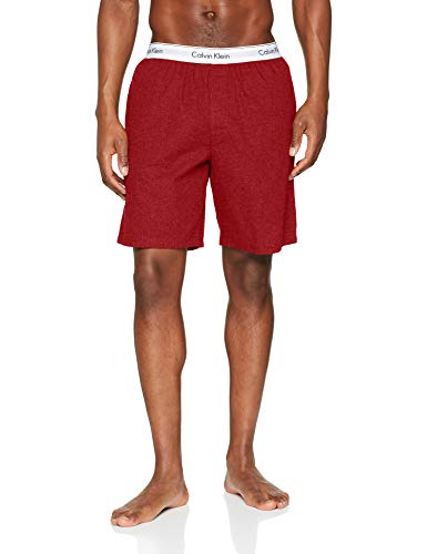 Calvin Klein Sleep Short Pantalones de Pijama, Rojo (Smoky Rouge Heather 3EJ), M para Hombre