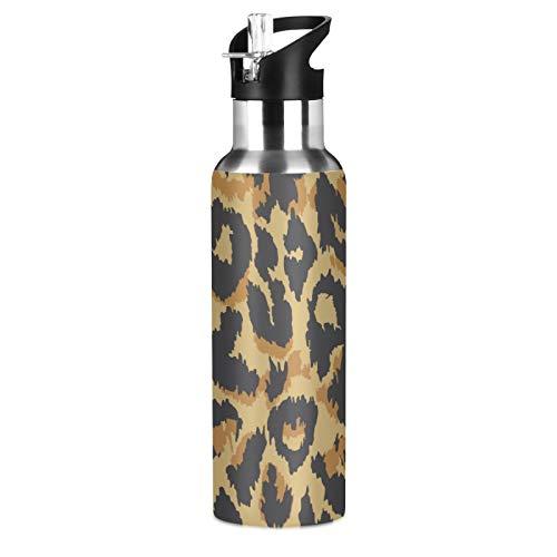 BGIFT - Botella de agua con tapa de pajita aislada al vacío de acero inoxidable con estampado de leopardo, 20 onzas para deporte, bicicleta, fitness, senderismo