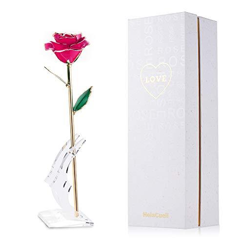 HelaCueil 24K Gold Rose Handgemachte Rose mit Geschenkbox - Geschenke für Frauen Valentinstag/Muttertag/Geburtstag/Hochzeitstag/Weihnachten (Rosa)
