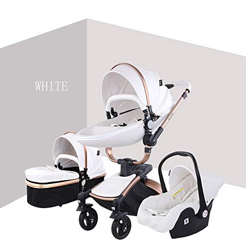 Kinderwagen 3-in-1-Kombikinderwagen Deluxe Buggy Faltbarer Kinderwagen für Kleinkinder von der Geburt bis 48 Monate,White