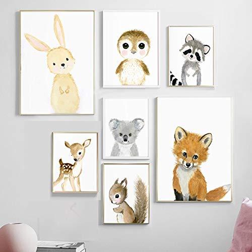 Dibujos animados de estilo nórdico Emoticonos lindos Koala Bebé Animal Cara rosa Lienzo Pintura Arte de la pared Póster Impresiones Habitación infantil Dormitorio de los niños Sala de estar Decor