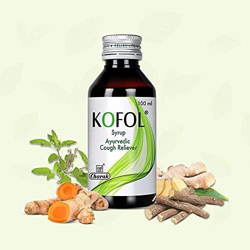Charak Pharma Kofol Cough Syrup With Goodness of Haridra, Sunthi, Bibhitaki, Yastimadhu, Vasa & Tulsi, Ayurvedic Cough Reliever, खाँसी की दवा (200 ML X 1)
