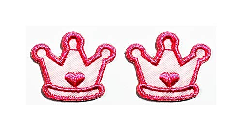 Mini Pink Crown Imperial Princess Queen Cartoon Patch Iron on Embroidered Patch Supplies for Jacket Bags Jeans Backpack Clothes DIY (Pack 2 PCS)