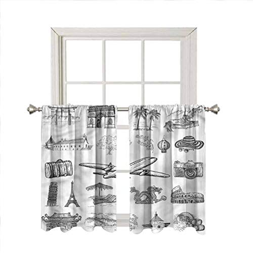 LCGGDB Sketchy Rod Pocket Blackout Curtain Panels,Airplane Luggage and Camera Home Decor Window Treatments Draperies for Bedroom/Nursery/Kitchen/Living Room,42 x 54 Inch, 2 Panels
