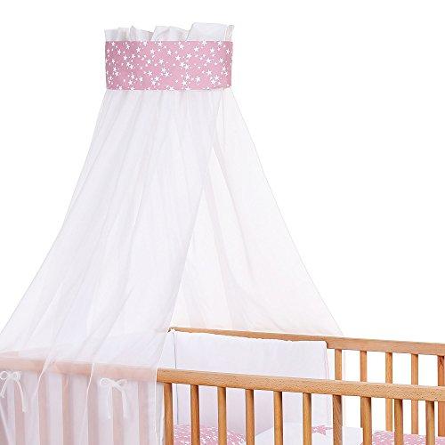 Babybay 410328 Ciel de lit d'enfants en piqué avec Ruban pour Application Framboise et d'étoiles Blanches, Multi Color, Taille Unique