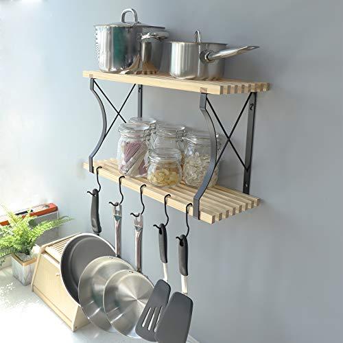 WELLAND 24x89 Inches Wooden Pot Pan Rack Shelf Taylor 2 Tier Wall Mounted Kitchen Cookware Organizer With 4 Hanging Hooks Wall Mounted Pan Pot Hanging Shelf