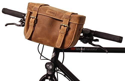 Gusti Lenkertasche Leder - Rene P. Fahrradtasche Fahrrad Zubehör kompatibel mit Klickfix ohne Adapter Canvas Braun
