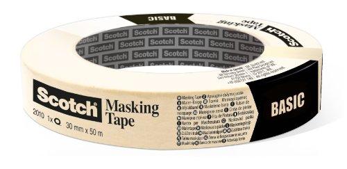 Scotch Basic 20103050 Abdeckband (Malerkrepp) für allgemeine Abdeckarbeiten, 30 mm x 50 m, beige