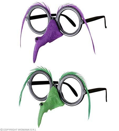 WIDMANN Damen Brille mit Hexe Nase Feder Augenbraue – 2 Farben Ass Zubehör für Halloween-Kostüm