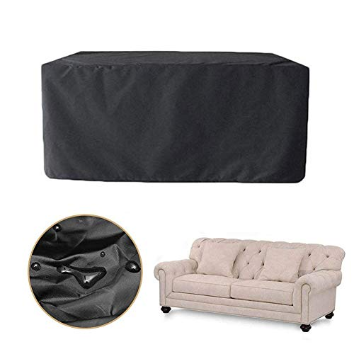 ALGWXQ Patio Garden Furniture Cover Dust-Proof Tear-Resistant Outdoor Sofa Covers Rectangle Oval Waterproof Oxford Cloth, Black, Multiple Sizes (Color : Black, Size : 250x200x80cm)