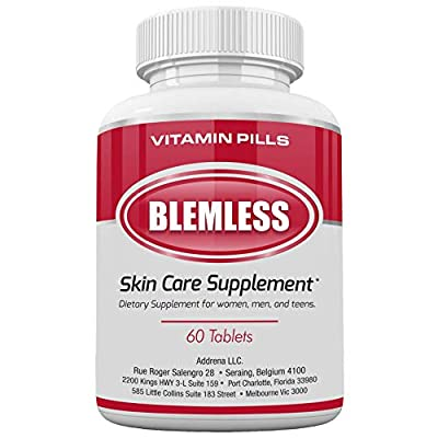Blemless Clear Skin Supplements Pill UK- Best Tablets for Oily Skin and a Glowing Complexion | Vitamin Pills for Women & Men That May Help Some Spots & Blemishes 60CT blameless